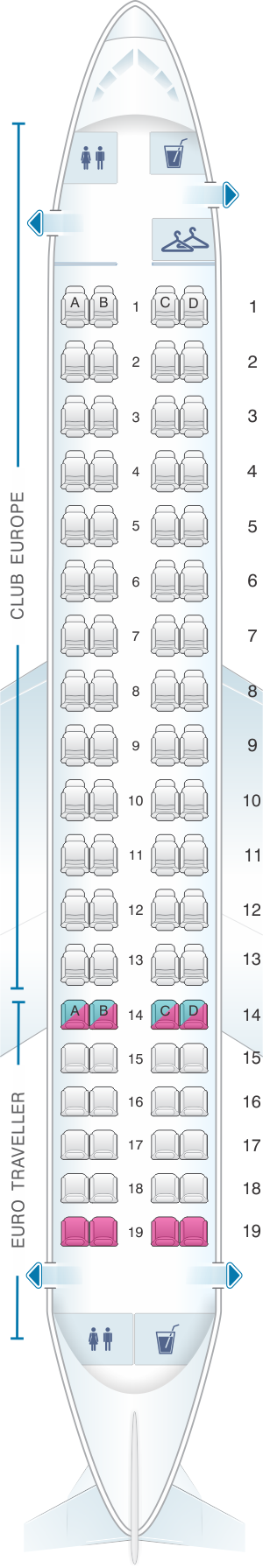 Seat map for British Airways Embraer 170 European