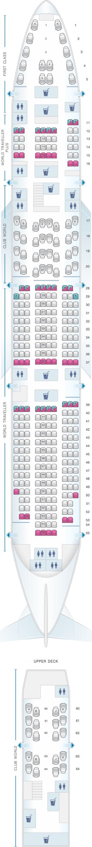 Seat map for British Airways Boeing B747 400 345PAX