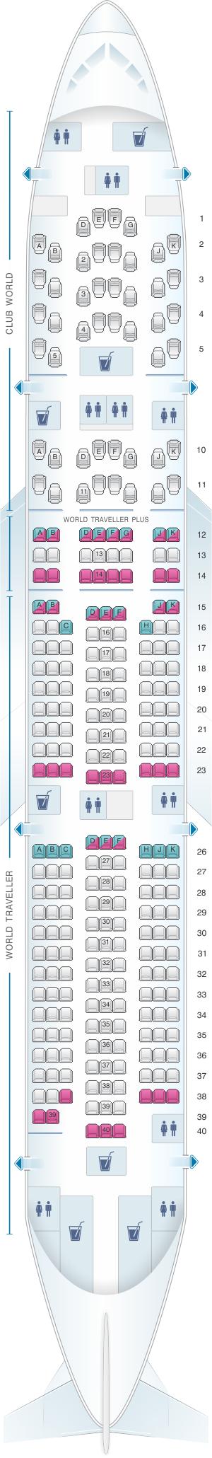 Seat map for British Airways Boeing B777 200 three class