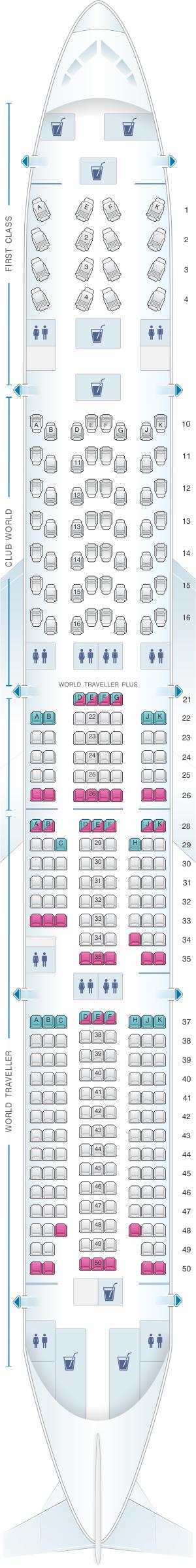 Seat map for British Airways Boeing B777 300
