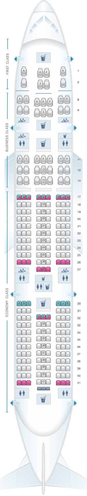 Seat map for Air India Boeing B777 200LR