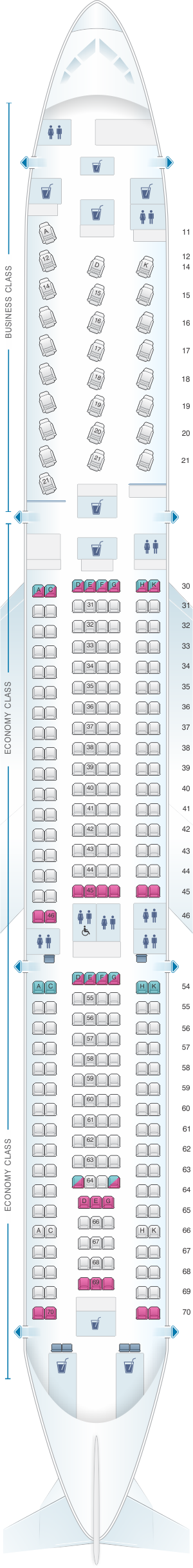 Seat map for Cathay Pacific Airways Airbus A340 300 (34B)
