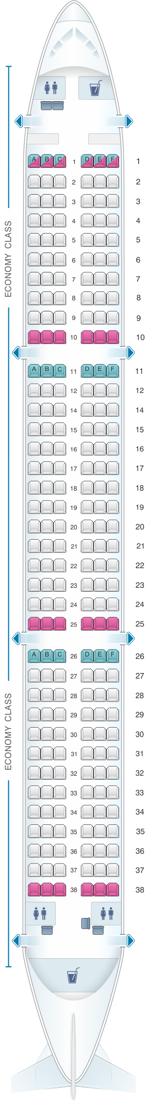 Seat map for Freebird Airlines Airbus A321