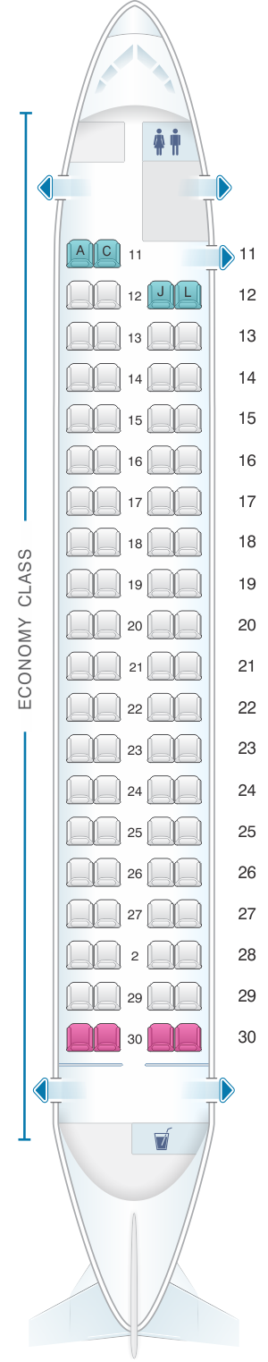 Seat map for Ethiopian Q400