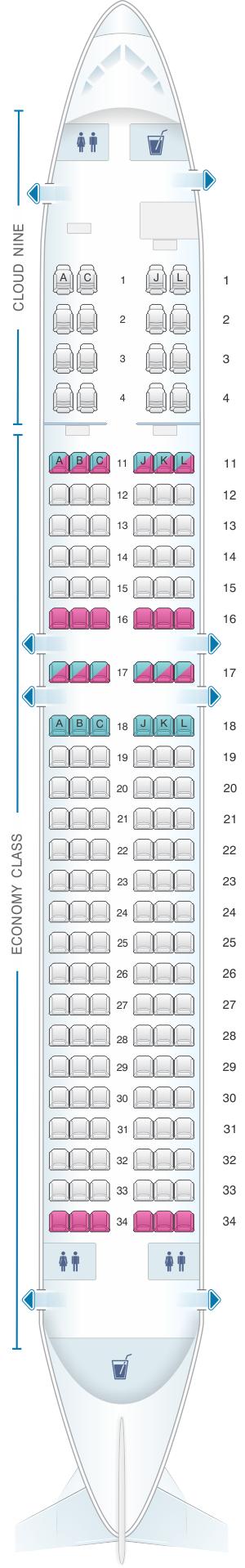 Seat map for Ethiopian Boeing B737 800W