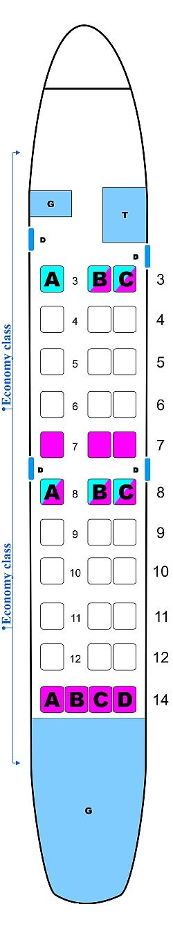 Seat map for Polet Airlines Saab 340B