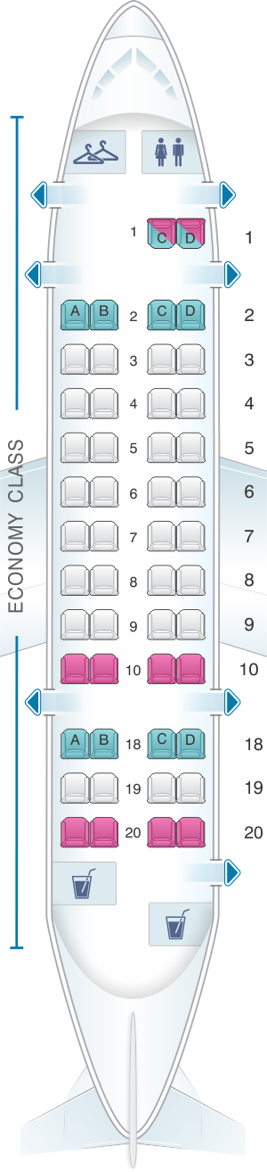 Seat map for United Airlines Bombardier Q300 (DH3)