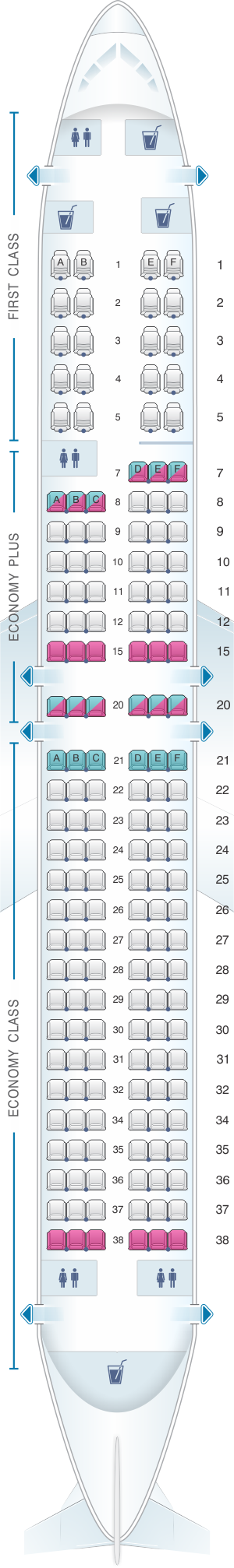Seat map for United Airlines Boeing B737 900 - version 1