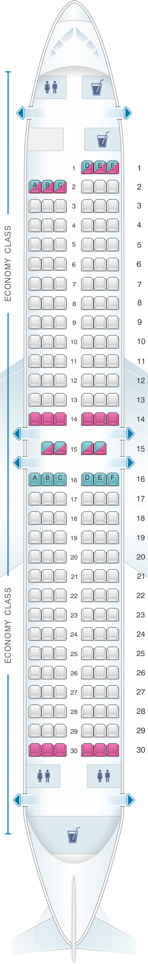 Seat map for Southwest Airlines Boeing B737 800 175pax