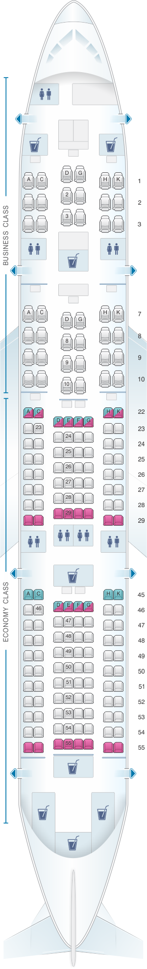 Seat map for Japan Airlines (JAL) Boeing B787-8 E01