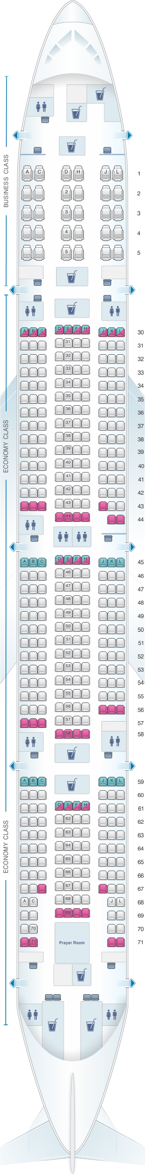 Seat map for Saudi Arabian Airlines Boeing B777 300 (773)