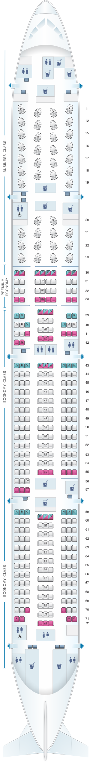 Seat map for Cathay Pacific Airways Boeing B777 300 (77G)