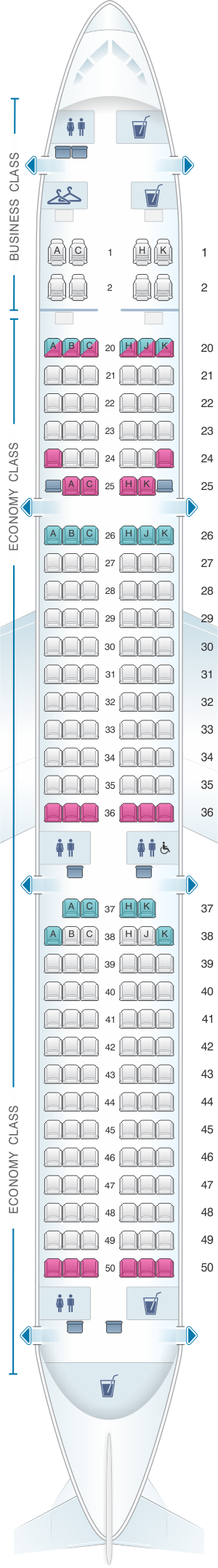 Seat map for EVA Air Airbus A321 200