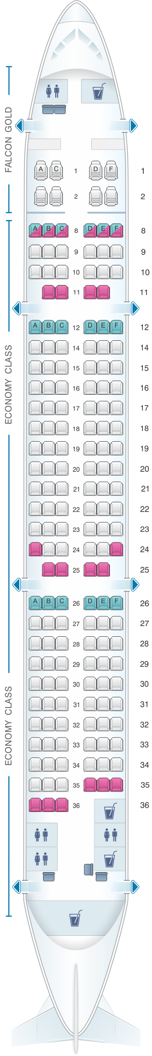 Seat map for Gulf Air  Airbus A321ER