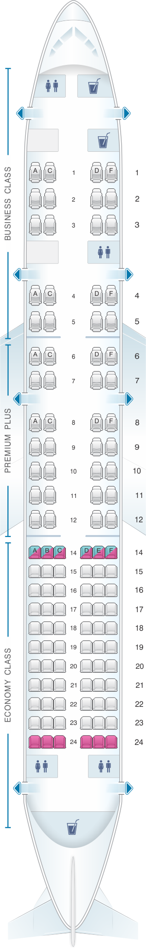 Seat map for OpenSkies Boeing B757 200 114PAX