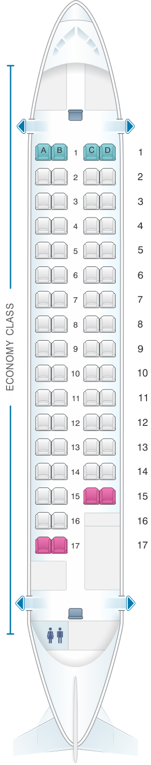 Seat map for Island Air ATR 72