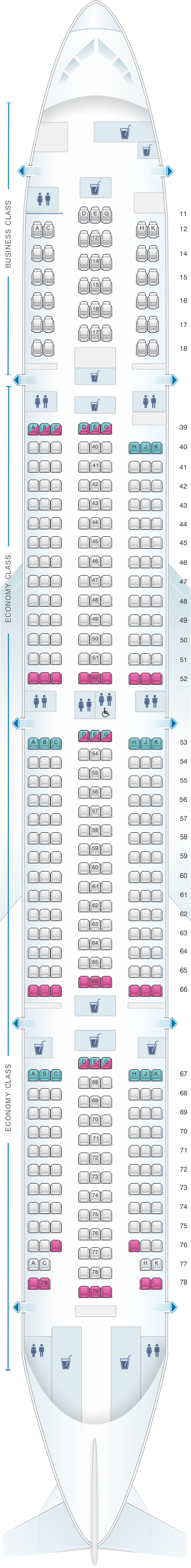 Seat map for Cathay Pacific Airways Boeing B777 300 (73Z)