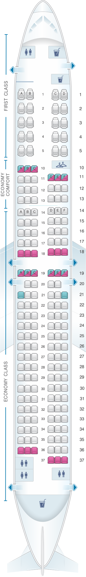 Seat map for Delta Air Lines Boeing B737 900ER (739)