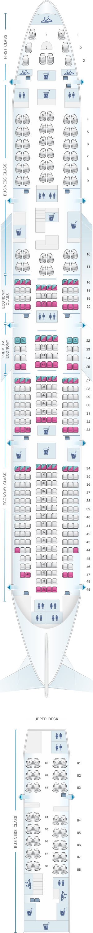 Seat map for Lufthansa Boeing B747-8 364pax