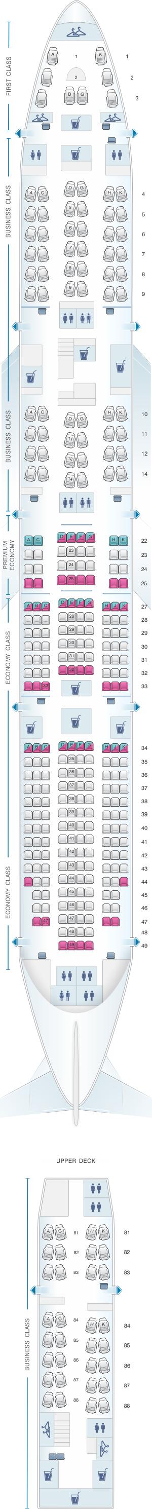 Seat map for Lufthansa Boeing B747-8 340pax