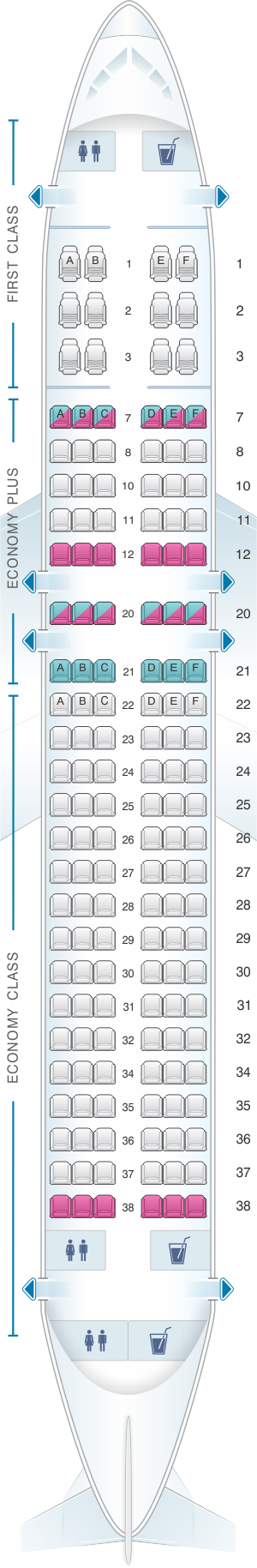 Seat map for United Airlines Airbus A320