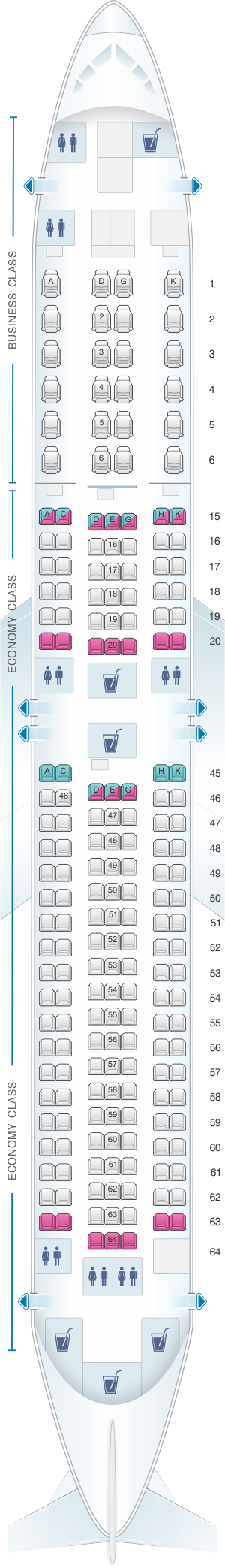 Seat map for Japan Airlines (JAL) Boeing B767 300ER A44