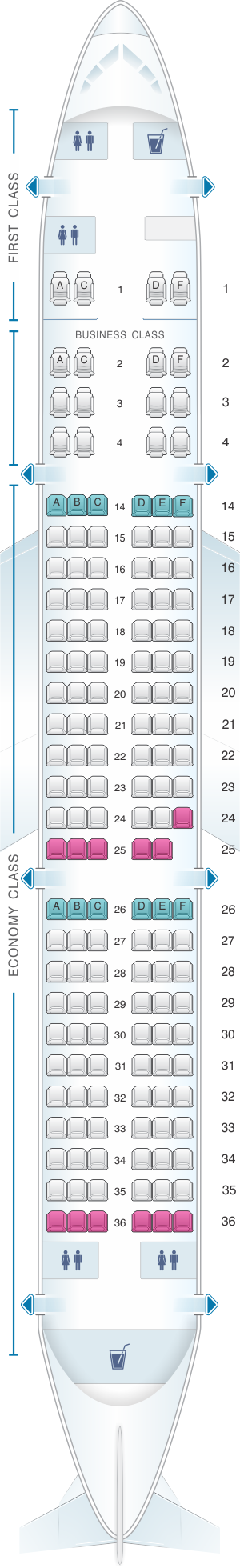 Seat map for Hi Fly Airbus A321 153pax