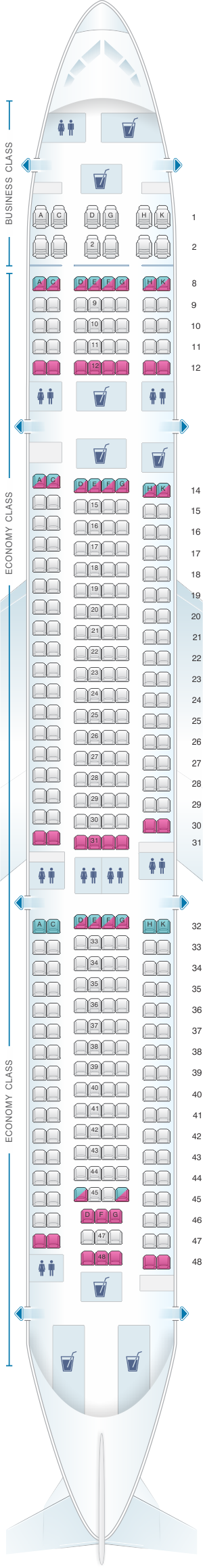 Seat map for Hi Fly Airbus A330 300 325pax