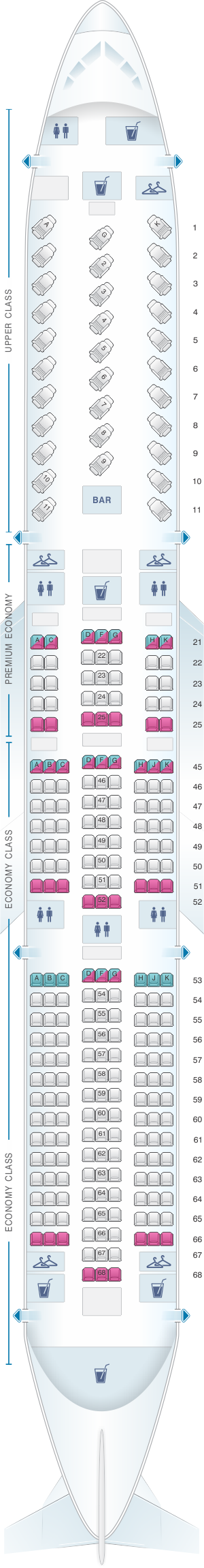 Seat map for Virgin Atlantic Boeing B787 900