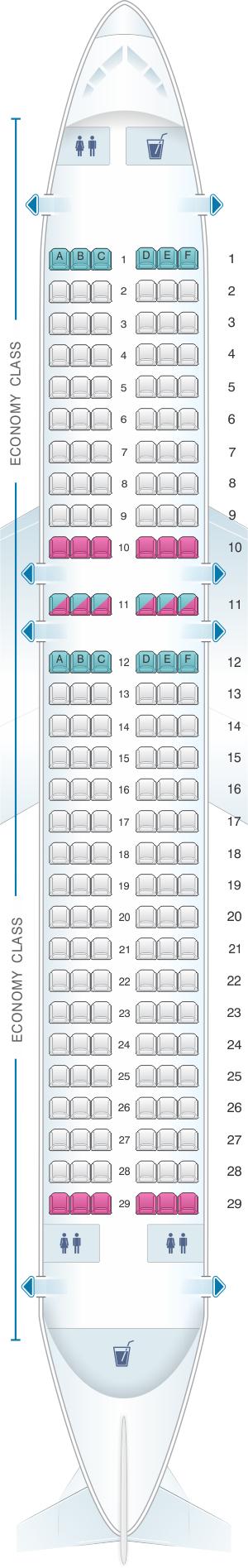 Seat map for Virgin Atlantic Airbus A320 200