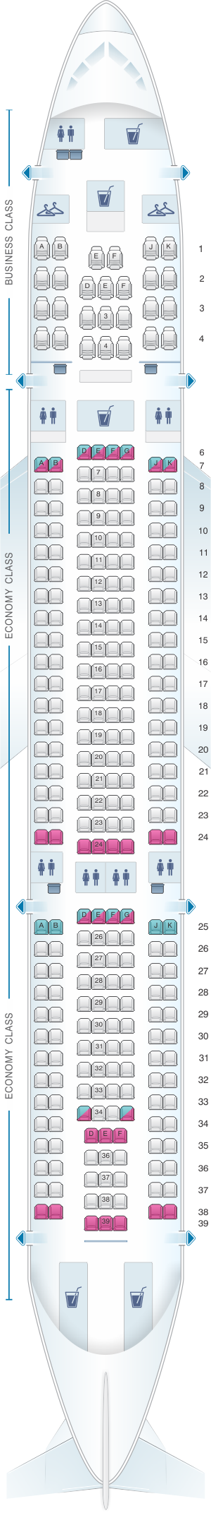 Seat map for Virgin Australia Airbus A330 200 Config. 2