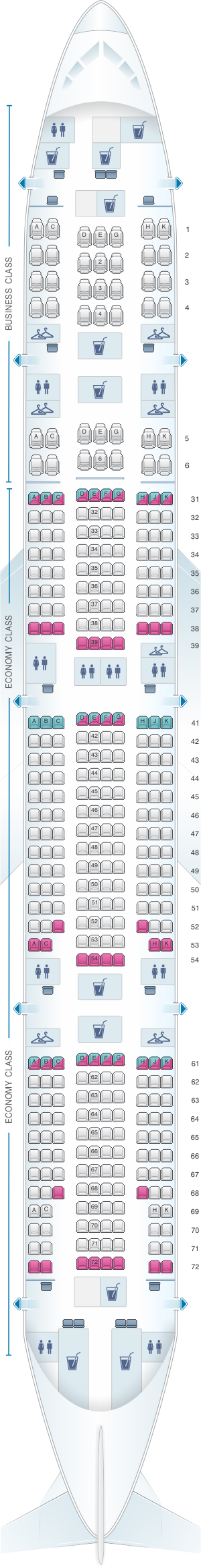 Seat map for Philippine Airlines Boeing B777 300ER