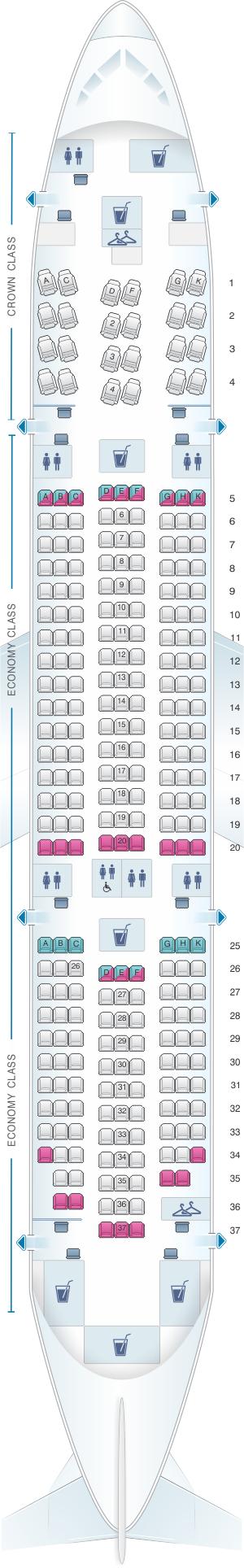 Seat map for Royal Jordanian Boeing B787-8 Dreamliner