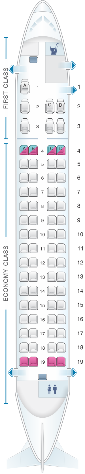 Seat map for Island Air Bombardier Q400