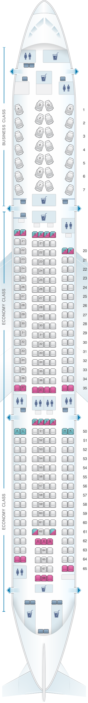 Seat map for SriLankan Airlines Airbus A330-300 Config. 1