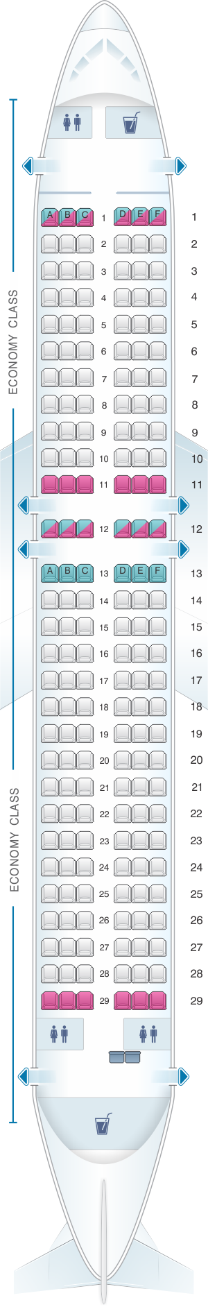 Seat map for White Airways Airbus A320