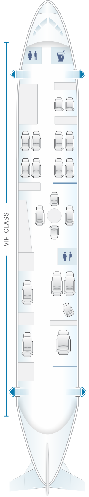 Seat map for White Airways Airbus A319 CS TQJ night configuration