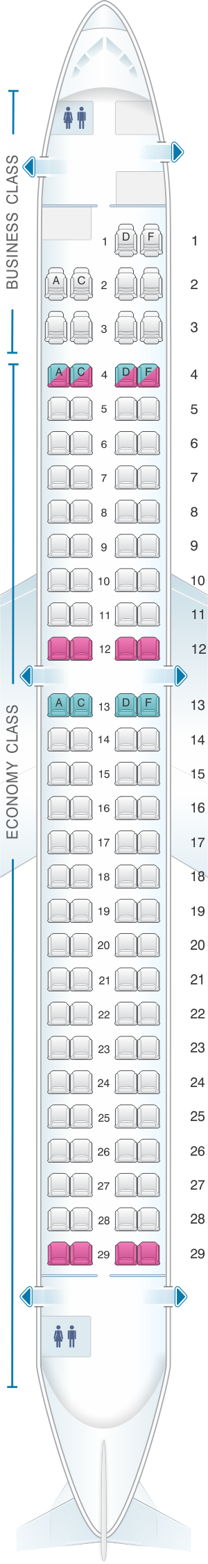 Seat map for Saravia Embraer 190