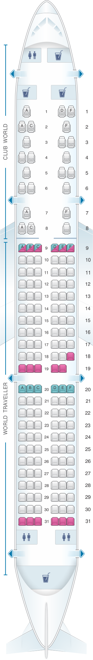 Seat map for British Airways Airbus A321 Worldwide