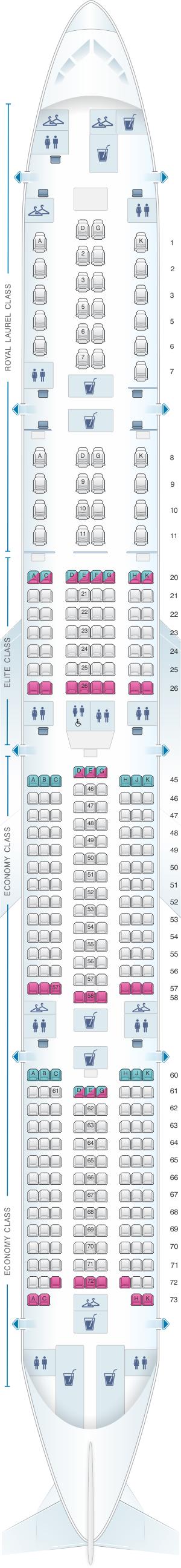 Seat map for EVA Air Boeing B777 300ER 333PAX