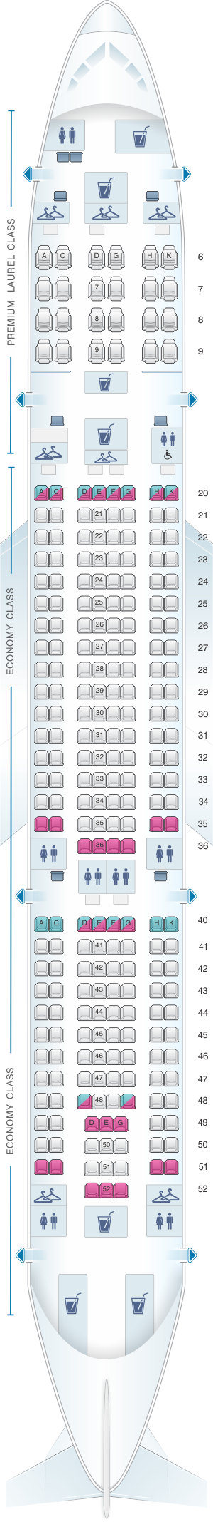 Seat map for EVA Air Airbus A330 200