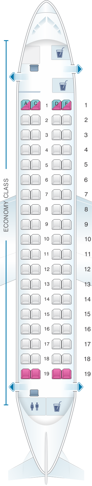 Seat map for Finnair Embraer EMB 170