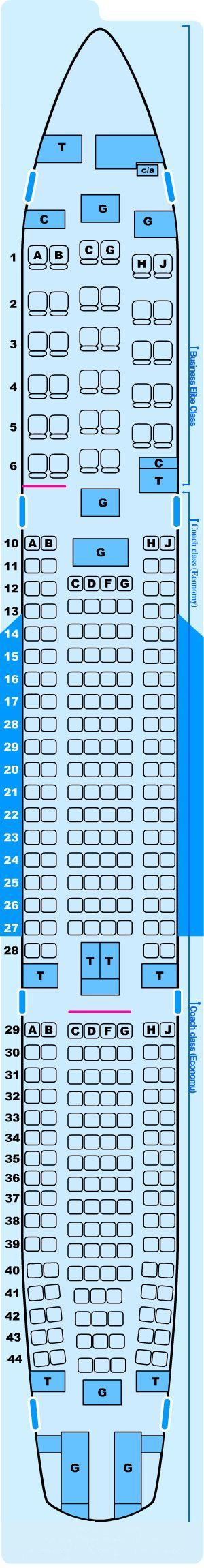 Seat map for Northwest Airlines Airbus A330 300