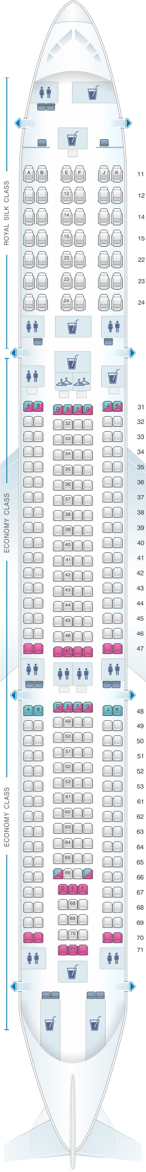 Seat map for Thai Airways International Airbus A330 300 (333)