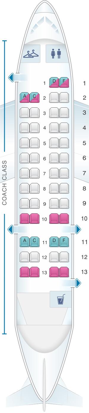 Seat map for US Airways Bombardier De Havilland Dash 8-300