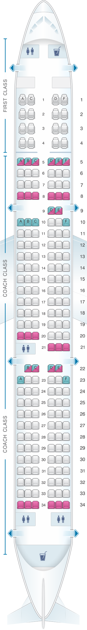 Seat map for US Airways Airbus A321