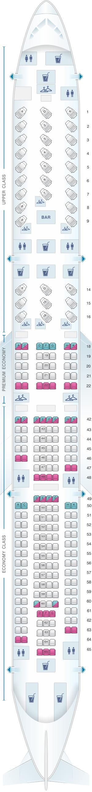 Seat map for Virgin Atlantic Airbus A340 300