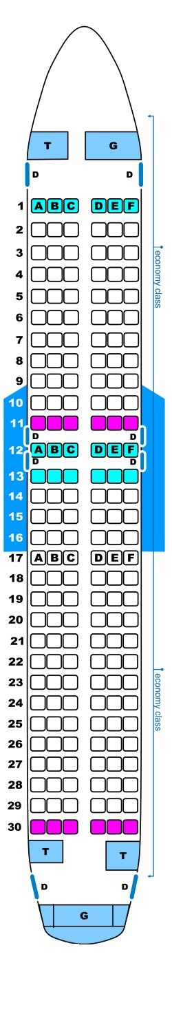 Seat map for Spanair Airbus A320