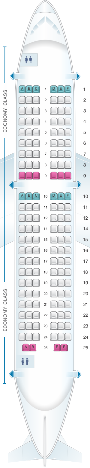 Seat map for Air France Airbus A319 Metropolitan V1
