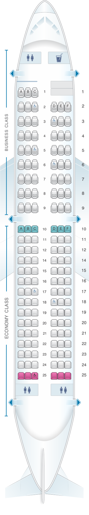 Seat map for Iberia Airbus A319 Config.2